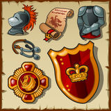 Knight vector set, uniforms and symbols. On a parchment background Royalty Free Stock Images