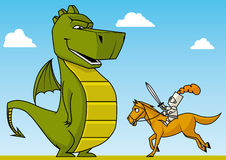 Knight versus dragon Stock Photography
