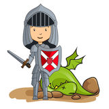 Knight victorious over the dragon. Cartoon knight victorious over the dragon Stock Images