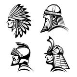 Knight, viking, samurai and native indian icons Stock Photos