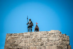 Knight with on a wall in the Old Rhodes Town in Greece Royalty Free Stock Photo