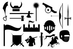 Knight War Icons Set. Vector illustration of knight war black icons set on white background Royalty Free Stock Photo