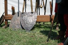 Knight weapons. Knight festival. Medieval weapons. Royalty Free Stock Photo