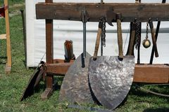 Knight weapons. Knight festival. Medieval weapons. Stock Photo