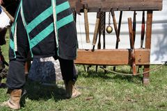Knight weapons. Knight festival. Medieval weapons. Stock Image
