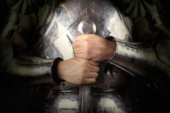 Knight wearing armor Stock Image
