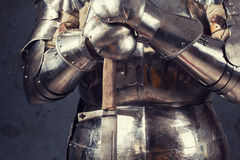Knight wearing armor Stock Photography