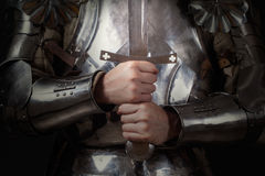Knight wearing armor Royalty Free Stock Image
