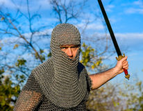 Knight wearing armour royalty free stock photography