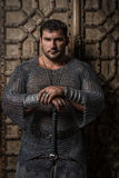 Knight wearing chain mail Royalty Free Stock Photos