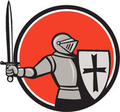 Knight Wielding Sword Circle Cartoon Stock Photography