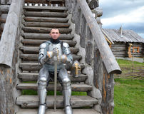 Knightly armor and weapon Stock Images