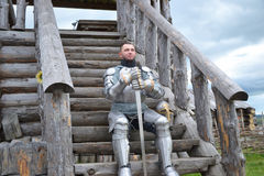 Knightly armor and weapon Stock Photo