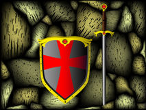 Knightly armour, stone wall Royalty Free Stock Image