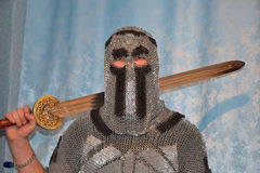 Knightly chain armor and sword Stock Photo