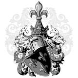 Knightly coat of arms. Heraldic medieval knight helmet, shield and Medieval knight ornament. Isolated on white, vector illustration Royalty Free Stock Image