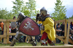 Knightly fights at the Festival of medieval culture in Tyumen, R Stock Photography