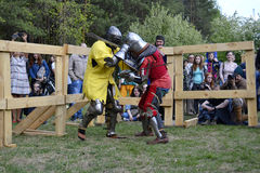 Knightly fights at the Festival of medieval culture in Tyumen, R Stock Images