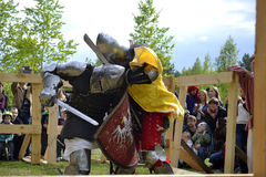 Knightly fights at the Festival of medieval culture in Tyumen, R Royalty Free Stock Photos