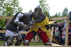 Knightly fights at the Festival of medieval culture in Tyumen, R Royalty Free Stock Images