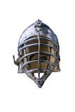Knightly helmet. An ancient knightly helmet on the white isolated background Royalty Free Stock Images