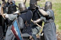knightly rekonstruktion för slagsmål Arkivbild