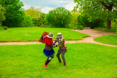 Knightly tournament with swords Stock Image