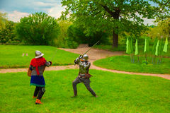 Knightly tournament with swords Stock Photos