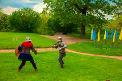 Knightly tournament with swords Royalty Free Stock Photos