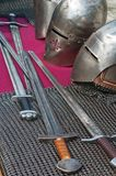 Knightly weapon and armour. The knightly weapon and armour Royalty Free Stock Images