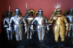 Knights. Photo of metal armor of the medieval knights Stock Photo