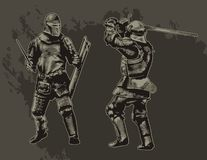 Knights. Two fighting medieval knights. Vector illustration Royalty Free Stock Images