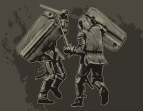 Knights. Two fighting medieval knights. Vector illustration Royalty Free Stock Photography