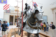 Knights. On horseback at the Metropolitan Museum of Modern Art in New York City royalty free stock photos