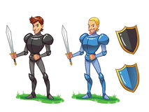 Knights. 2 different type of knights with their shields Royalty Free Stock Images