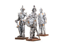 Knights. Picture of three miniature figures of knights Stock Images