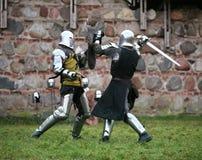 Knights. Struggle medieval knights. Show in Kaunas Royalty Free Stock Photo