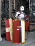 Knights armor. Guard in front of portal in knights armor stock image