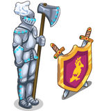 Knights armor with ax and royal shield with swords Stock Photography