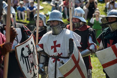 Knights in armor battle Stock Photo
