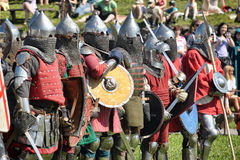 Knights in armor battle Stock Image