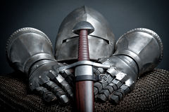 Knights armor with helmet, chain mail, gloves Royalty Free Stock Photography