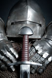 Knights armor with helmet, chain mail, gloves Stock Image