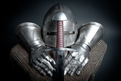 Knights armor with helmet, chain mail, gloves Royalty Free Stock Photos