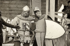 Knights in armor at the historic festival photos in sepia Royalty Free Stock Photo