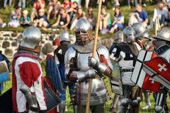 Knights in armor with shields Stock Images