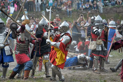 Knights in armor with shields Stock Photography
