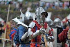 Knights in armor with shields Royalty Free Stock Photos