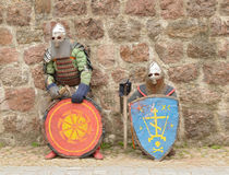Knights in an armor and with the weapon Royalty Free Stock Image