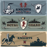 Knights Banners Set. With heraldry ancient castles armed horsemen on worn textural background  vector illustration Royalty Free Stock Photography